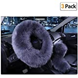 Younglingn Car Steering Wheel Cover Gear Shift Handbrake Fuzzy Cover 1 Set 3 Pcs Multi-Colored with Winter Warm Pure Wool Fashion for Girl Women Ladies Universal Fit Most Car (Gray Blue)