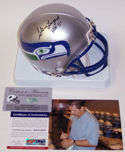 Steve Signed Hand Largent (Steve Largent Autographed Hand Signed Seattle Seahawks Mini Football Helmet - with HOF 95 Inscription - PSA/DNA)