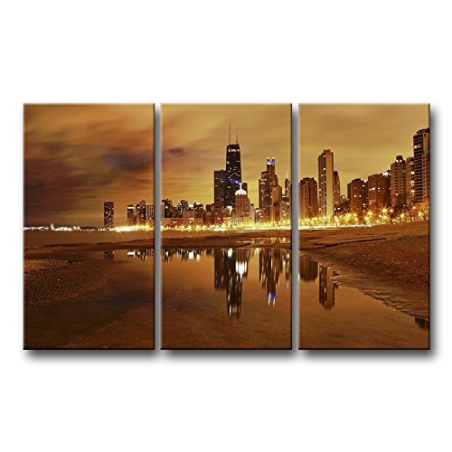 Amazon.com: So Crazy Art 3 Piece Wall Art Painting Chicago Skyline Prints  On Canvas The Picture City Pictures Oil For Home Modern Decoration Print  Decor: ...