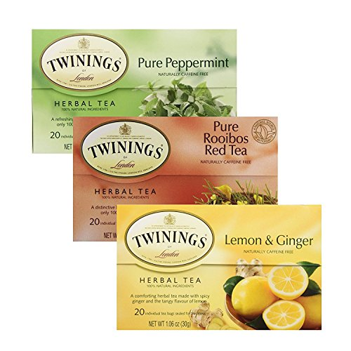 Twinings, Herbal Tea Bundle, African Rooibos, Lemon & Giner, and Pure Peppermint, 20 each