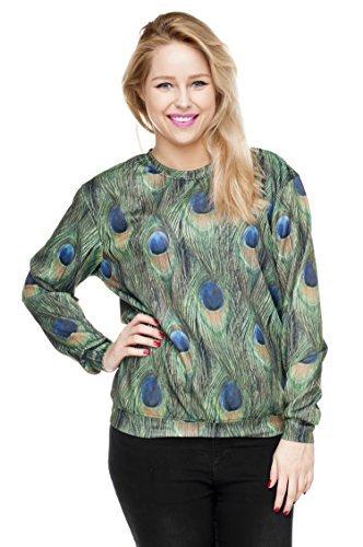 Funny Sweatshirts Company© Impreso Sudaderas Blusas 3D Imprimir/Motivo/Diseño One Size Unisex Primavera Verano 2017 PEACOCK 30825