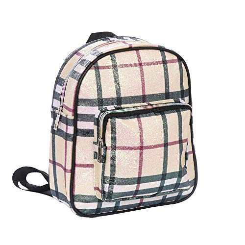Haymarket Checkered Glittering Backpack Fashion Bag - Beige Haymarket