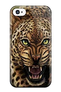 TYH - Cleora S. Shelton's Shop Best 2619901K32181133 Iphone 5/5s Hybrid Tpu Case Cover Silicon Bumper Angry Leopard Painting phone case