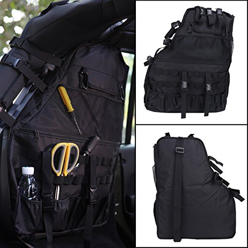 1 pc Rear Roll Cage Multi-Pockets Organizers Storage Saddlebag Cargo Bag Tool Kits Tissue Gadget Holder for Jeep Wrangler JK 4-door 2007-2016 Left side (Saddlebag Tool Kit)