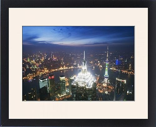 Framed Print of Jinmao and Pearl Towers and Pudong skyline, Shanghai, China, Asia