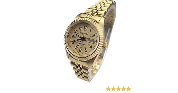 Amazon.com: Reloj de Mujer Swanson Japan Womens Dorado,Fecha,Dia Numeros Militare New: Watches