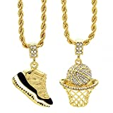 L & L Nation Mens Gold Plated HipHop Retro 11'' Concord & Cz Basketball Pendant 4mm 24'' Rope Chain