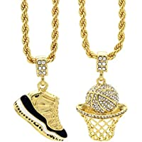 """L & L Nation Mens Gold Plated HipHop Retro 11"""" Concord & Cz Basketball Pendant 4mm 24"""" Rope Chain"""