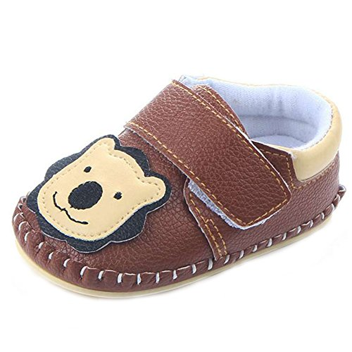 LIDIANO Baby Non Slip Rubber Sole Cartoon Walking Slippers Crib Shoes Infant/Toddler (12-18 Months, Brown Lion)