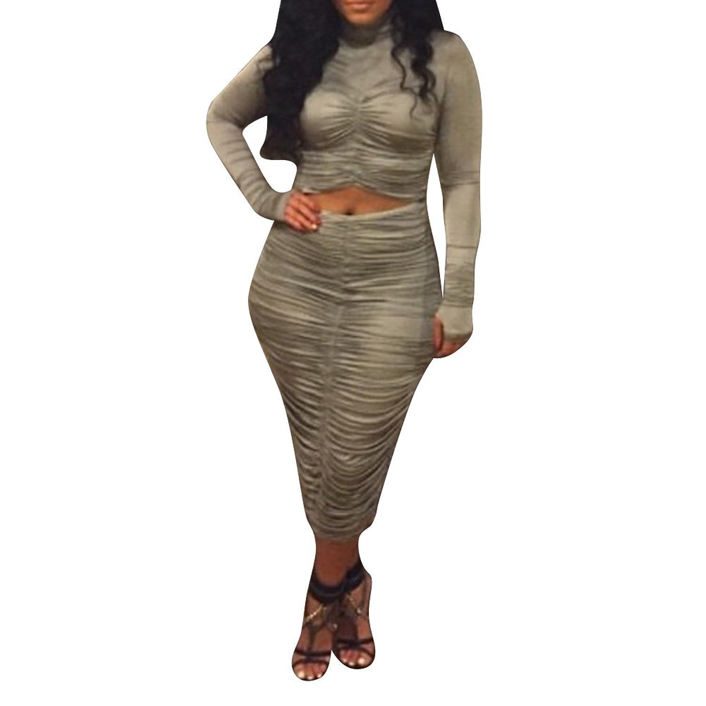 iecool Women's Bodycon Long Sleeve Ruffled Crop Top Dress Set Clubwear