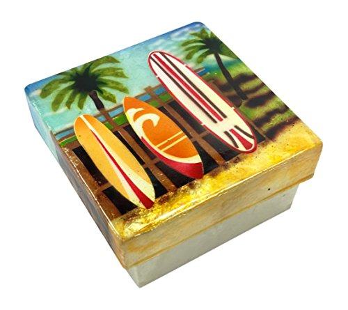Kubla Craft Surfboards Capiz Shell Keepsake Box, 3 Inches Square (Tree Farm California Christmas)