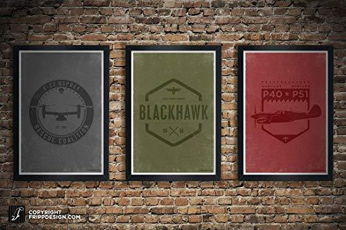 P51 Mustang, U-60 Blackhawk, V-22 Osprey, P40 Warhawk Crest Design Aviation Illustration Poster Collection: 11