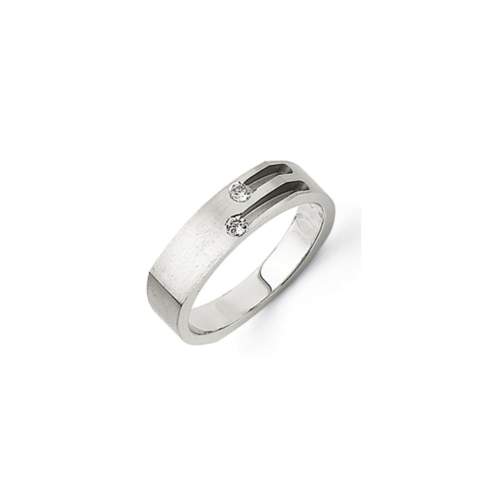 1/10 CT 14k White Gold AA Diamond Square Men's Band. 0.1 ctw. by JewelrySuperMart Collection