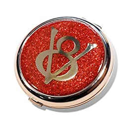 Ford V8 Flame Red Glitter Compact Mirror Travel Make Up Accessory