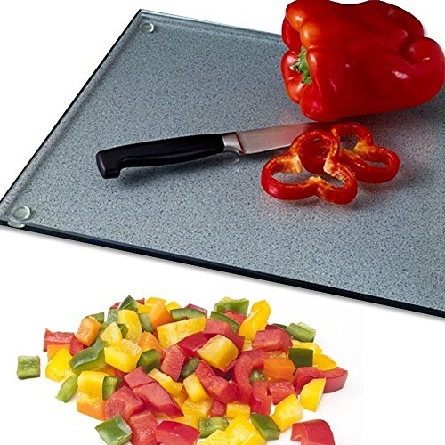 (Clear Cutting Board - Virtually Unbreakable Glass 11x15 Scratch, Heat, & Shatter Resistant, Hygienic, Protects Against Bacteria, Stains & Odors Wood Can Retain. Sturdy Anti-slip Pads Protect Bar or Table From Hot Cookware. Great Placemat or Trivet)