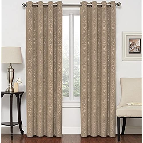 Regal Home Collections Middleton Velet Embossed Jacquard Window Panel With 8 Grommets 52x84 Set Of 2