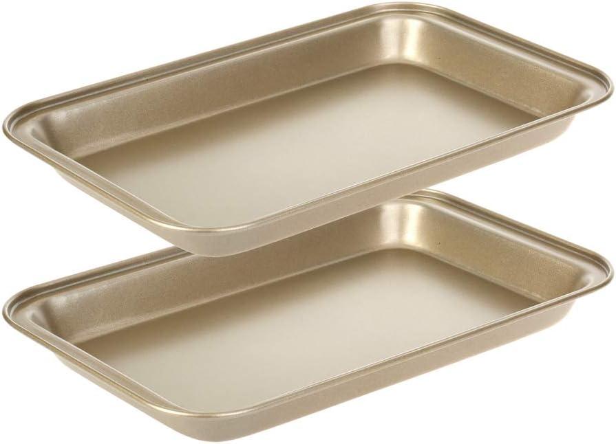 Small Baking Sheet, Nonstick Walooza 11 X 7 Inch Toaster Oven Tray Replacement Cookie Sheet Pan Bakeware, 2 PCS Set