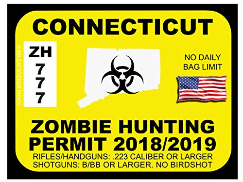 CONNECTICUT Zombie Hunting Permit (Bumper Sticker)