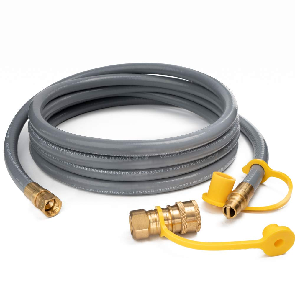 GASPRO 12FT Natural Gas Hose with Quick Connect Fittings, 3/8 Inch Propane/Natural Gas Quick Disconnect Kit Extension Hose Assembly for Low Pressure Appliance, CSA Certified by GASPRO