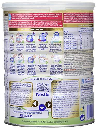 NAN Digest - Alimento en polvo para el tratamiento de trastornos digestivos leves - Fórmula para bebé - Desde el primer día - 800g