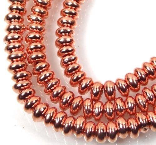 50 Czech Glass Rondelle Beads - Copper Penny (Penny Flower Vase)