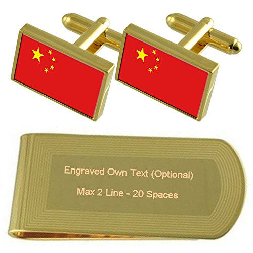 Gift Flag Engraved Clip Set Money Gold Cufflinks tone China O0wqw