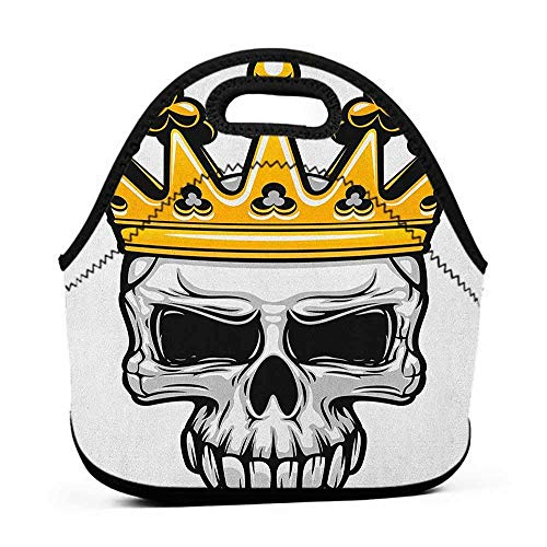 Tote Outdoor King,Hand Drawn Crowned Skull Cranium with Coronet Tiara Halloween Themed Image, Golden and Pale Grey,lunch bag for two meals]()
