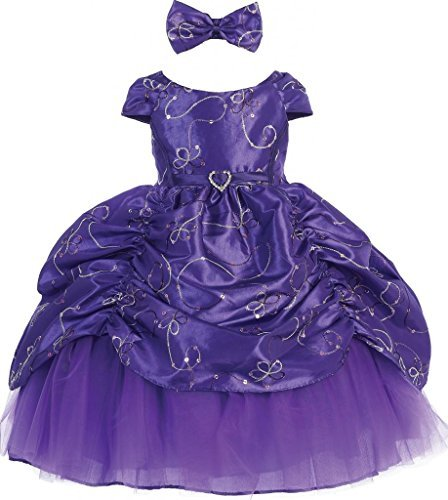 AkiDress Short Sleeve Satin Sequin Detailing Cinderella Flower Baby Girl Dress Purple S - XL