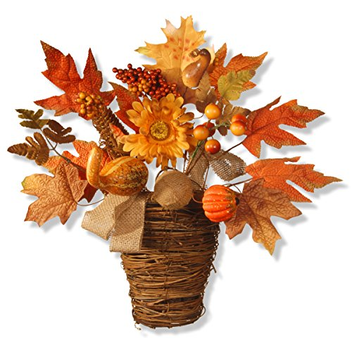 National Tree 16 Inch Harvest Maple Leaves with Gourds and a Wicker Basket (Gourd Basket)