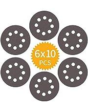 60 Pieza Discos abrasivos para lijar 400 600 800 1000 1500 2000 Lijas Carburo de silicio Grano 125 mm Papeles de Lija 8-agujeros