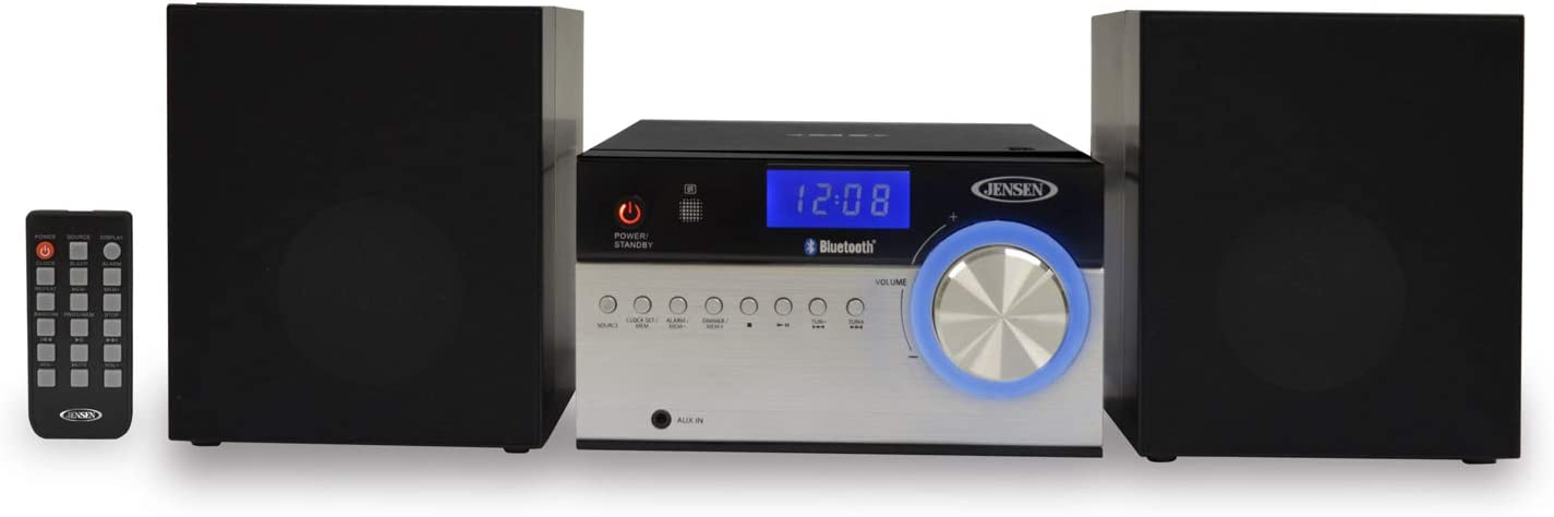Jensen JBS-200 Bluetooth CD Music System with Digital AM/FM Stereo Receiver and Remote Control 2""