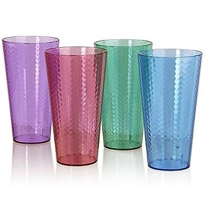Hampton Premium Quality Plastic 28oz Iced Tea Tumbler | set of 8 in 4 Assorted Colors