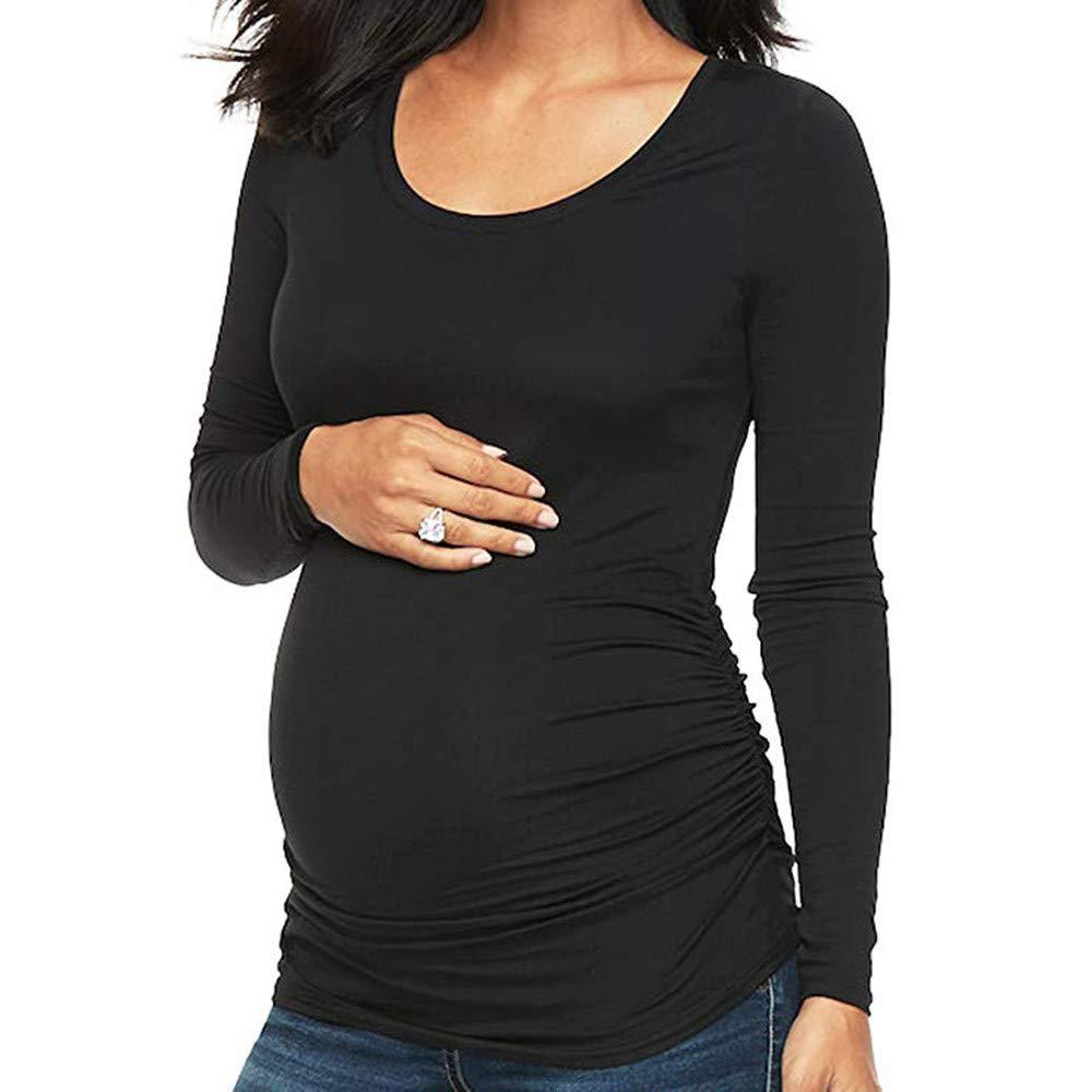 9fcfc20ab3c Amazon.com  Women s Maternity Basic Long Sleeve Shirt Scoop Neck Pregnancy  Top (M