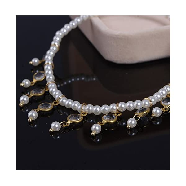 WeiMay 1 X Crystal Pearl Beaded cavigliera catena donne braccialetto alla caviglia sandalo a piedi nudi accessori da… 3 spesavip