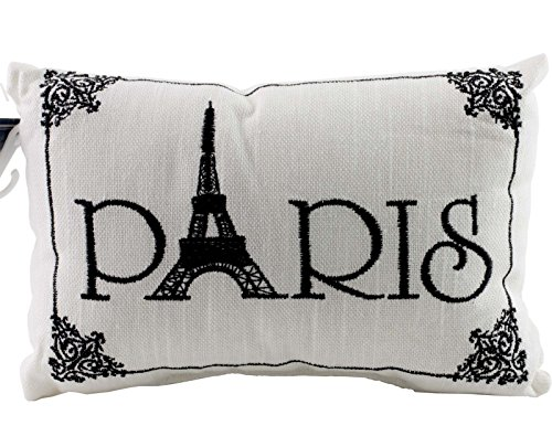 'Paris' - Small/Cute Embroidered Accent 'Pillow' (5 1/2' x 8 - Paris Pillow