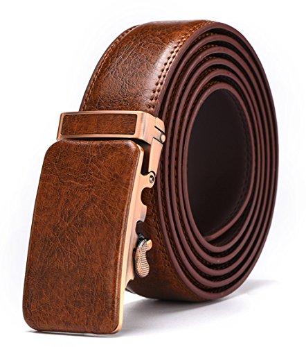 Brown Genuine Belt (Autolock Genuine Leather Belt For Men Enclosed in an Elegant Gift Box (adjustable from 26
