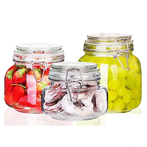 Kitchen Sealed Jar Glass Storage Jar Snack Square Food Jam Bottle Passion Fruit Enzyme Bottle Kimchi With Lid Bottle (Size : 3pcs(small))