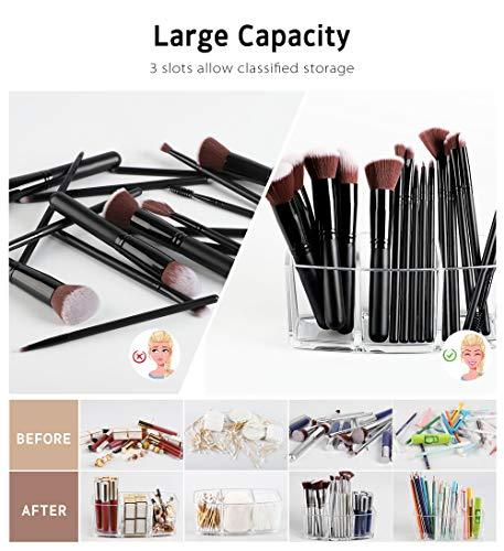 Syntus Makeup Brush Holder Organizer, Acrylic 3 Slot Large Capacity Cosmetic Brushes Storage Box, Clear