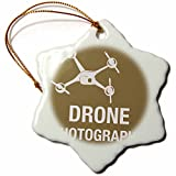 3dRose Big Brown Drone for Photography - Snowflake Ornament, Porcelain, 3-inch (orn_179901_1)