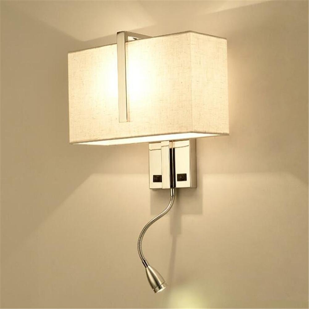 KDLD Wall Lights ® Wall Lights Modern Bedside E27 Fabric Lampshade Stainless Steel Wall Lamp With Flexible LED Reading Lights And Switch For Living Room Bedroom Hotel Wall Surface Mounted Sconces Decoration Lighting