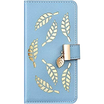 IKASEFU Compatible with iphone 6 Plus/6S Plus Case Soft Pu Leather Glitter Hollow out Leaf Style Wallet Strap Case Card Slots Shockproof Magnetic Flip Stand Protective Bumper Cover Case Blue: Musical Instruments