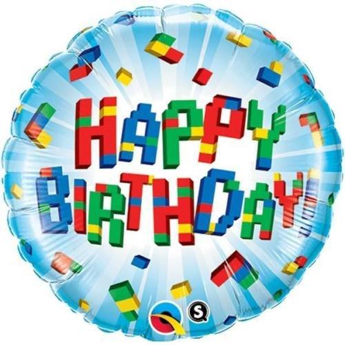 Qualatex Happy Birthday Exploding Blocks 18 Inch Foil Balloon]()