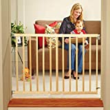 North States 42' Wide Stairway Swing Baby Gate: Ideal for Standard stairways. with Swing Control Hinge and one-Hand Operation. Hardware Mount. Fits 28'-42' Wide (30' Tall, Sustainable Hardwood)