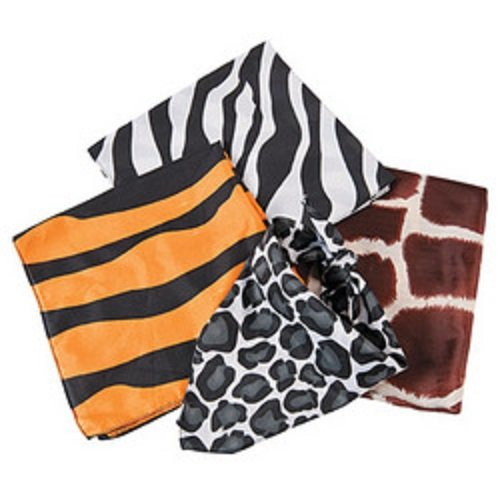 Lot of 12 Animal Print Bandannas Safari Jungle Theme Party Favors by Fun Express