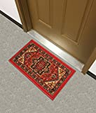 Cheap Kapaqua Rubber Backed Mat 18″ x 31″ Red Persian Medallion Doormat Accent Non-Slip Rug – Rana Collection Kitchen Dining Living Hallway Bathroom Pet Entry Rugs RAN2090-12