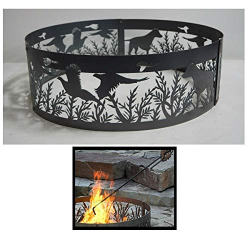 - Quality Brand Company QBC Bundled PD Metals Steel Campfire Ring Dog N' Pheasants Design - Unpainted - with Fire Poker - Small 30 d x 10 h - Plus Free QBC Campfire Ring Guide