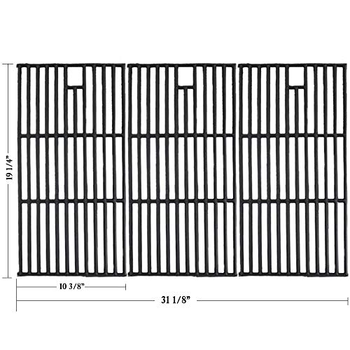 """Hisencn Grill Grate Cast Iron Cooking Grid Replacement Parts for Brinkmann 810-8501, Charmglow, Costco Kirkland, Jenn Air 720-0337, Members Mark, Nexgrill, Perfect Flame Gas Grill Models, 19 1/4"""""""