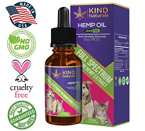 Full Spectrum Hemp Oil for Dogs & Cats - 100% Clean Organic Pet Omega Hemp Extract 250mg - All Natural Pain Relief for Pets, Calming, Stress & Anxiety Support - Easily Apply to Cat, Dog Pet Treats