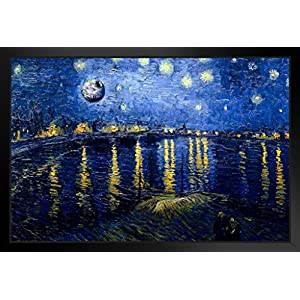 Death Star Starry Night Over The Rhone Van Gogh Art Humor Black Wood Framed Poster 14×20