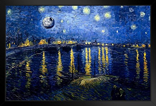 Rhone Art Framed (Death Star Starry Night Over The Rhone Van Gogh Art Humor Framed Poster 14x20 inch)